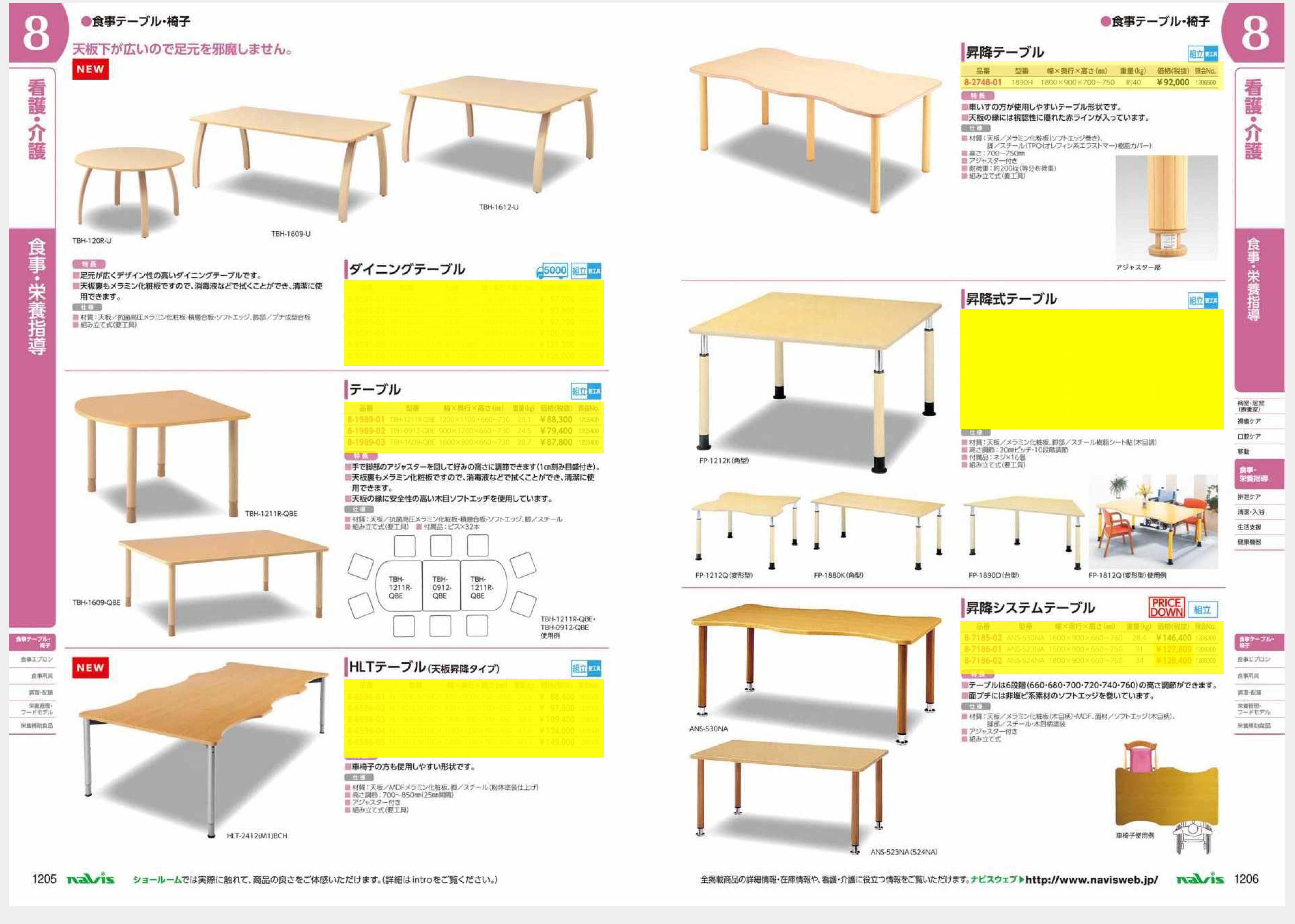 ナビス50000 8-6596-01 HLTテーブル(天板昇降タイプ) 900×900×700〜850[個](as1-8-6596-01)