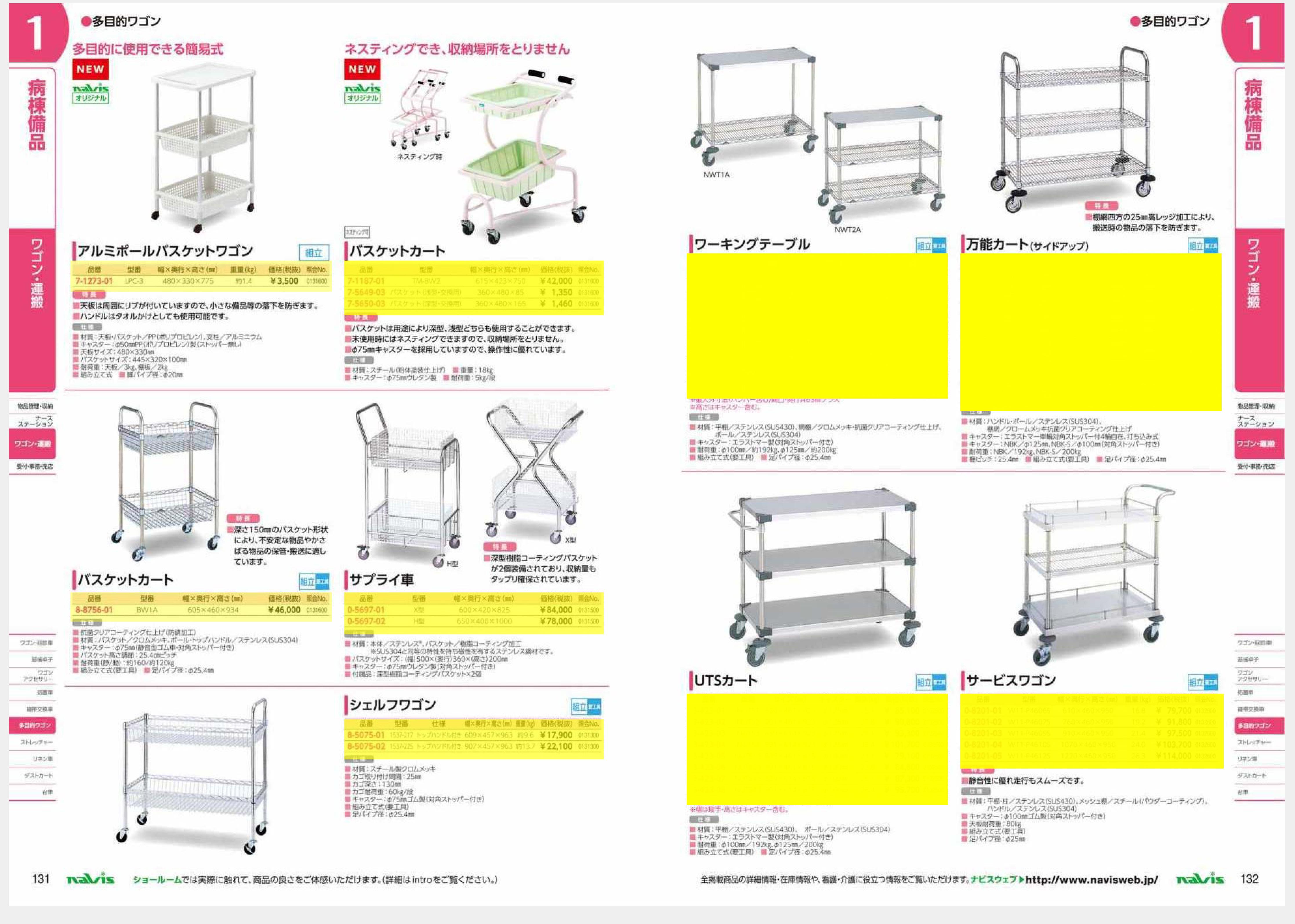 ナビス50000 3-417-10 ワーキングテーブル1型 1213×614×815mm φ100[組](as1-3-417-10)