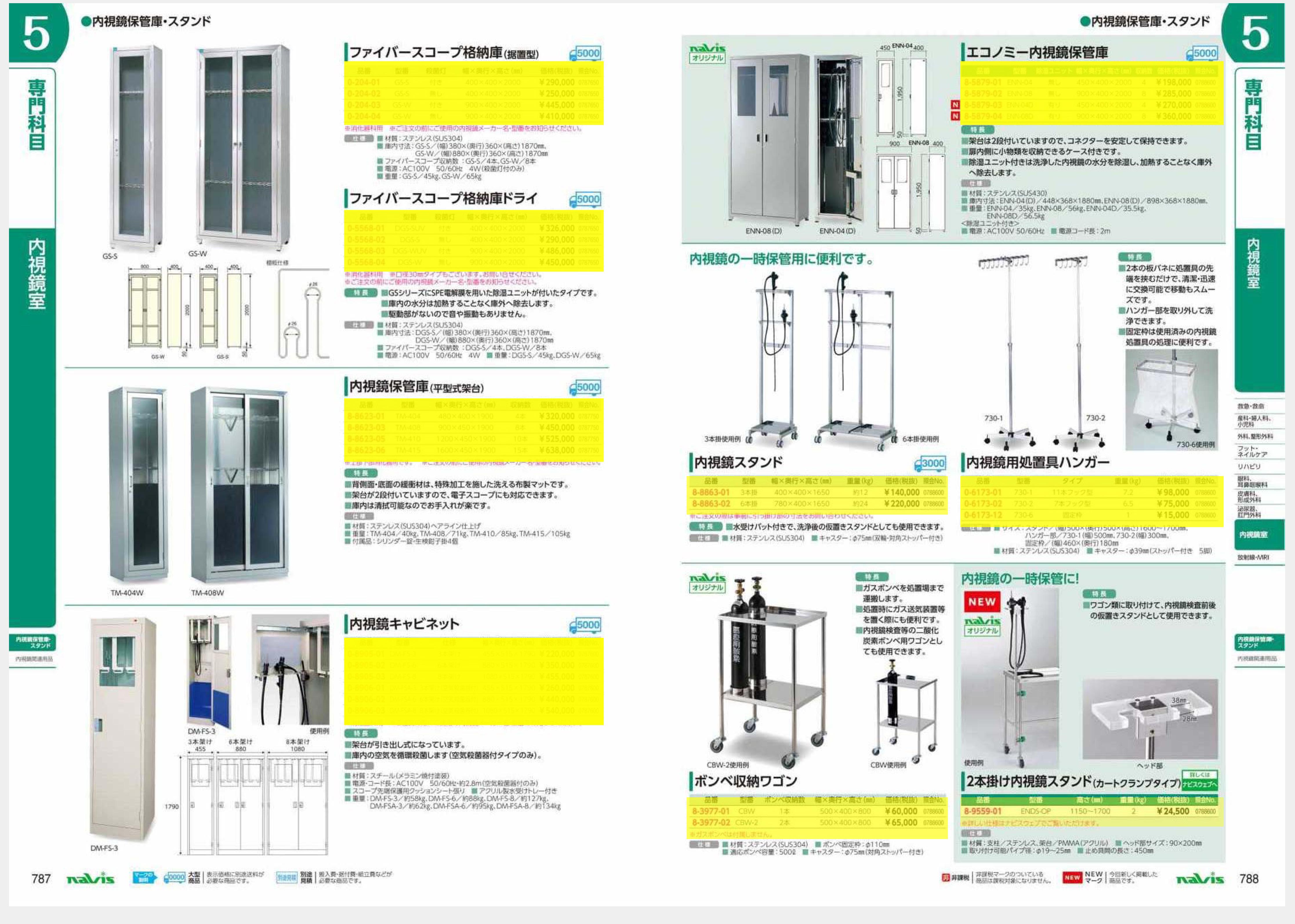 ナビス50000 ナビス 8-5879-03 エコノミー内視鏡保管庫 除湿ユニット有り 450×400×2000 収納4コ[個](as1-8-5879-03)